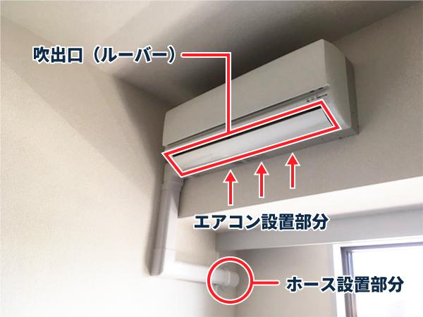 エアコンが水漏れする場所(吹出口、エアコン設置部分、ホース設置部分)