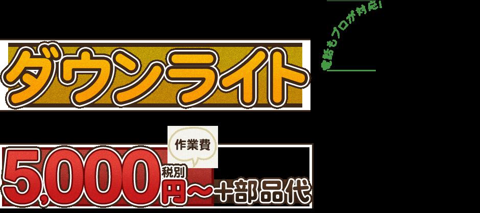 ダウンライト作業費5,000円~+部品代