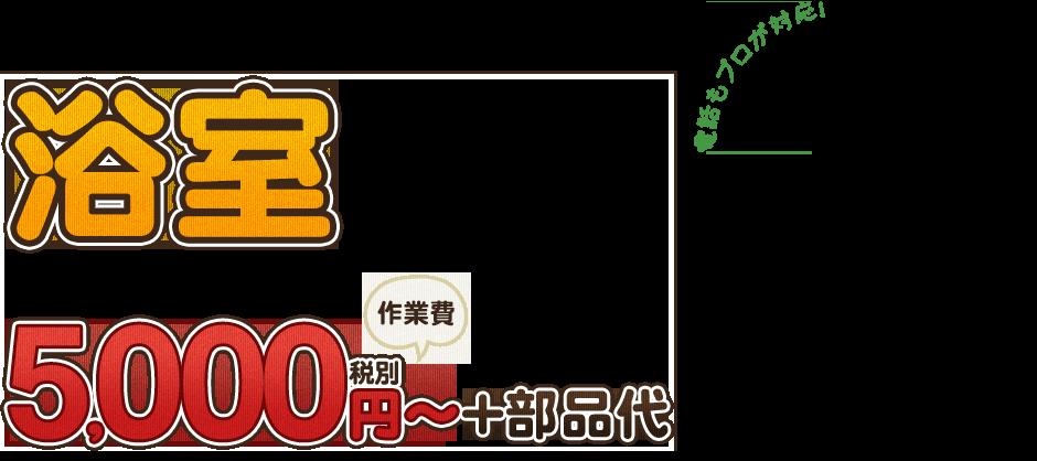 浴室5,000円~+部品代