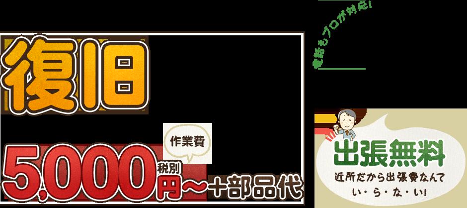 復旧5,000円~+部品代