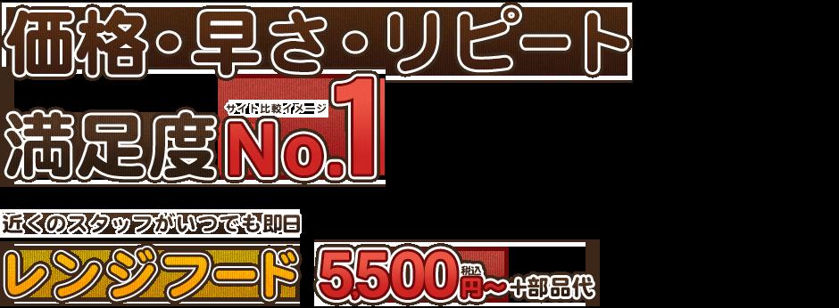 価格・早さ・リピート満足度No.1レンジフード5500円~+部品代