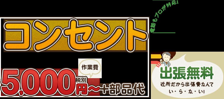 コンセント5,000円~+部品代