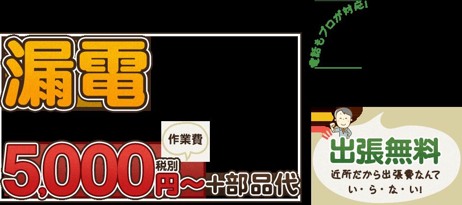 漏電5,000円~+部品代